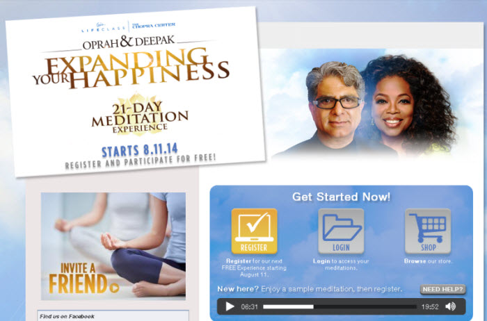 Free 21 Day Meditation Experience (Oprah & Deepak) August 11