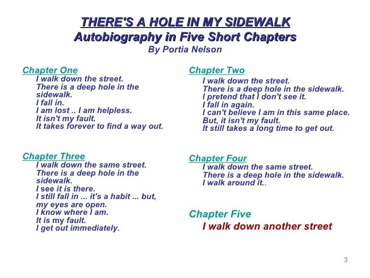 My Fave Life Metaphor (Deep hole in the sidewalk)