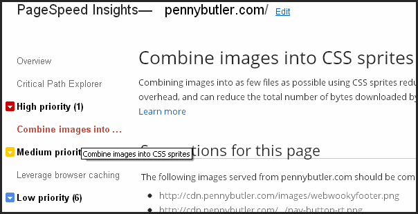 PennyButler PageSpeed Test Results